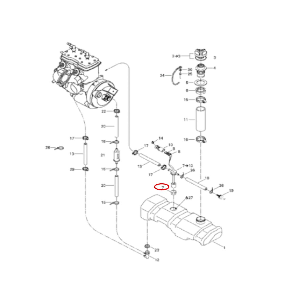 Borracha Vedação do Tanque Sea Doo Gti/Xp/Spx  - Radical Peças - Peças para Jet Ski