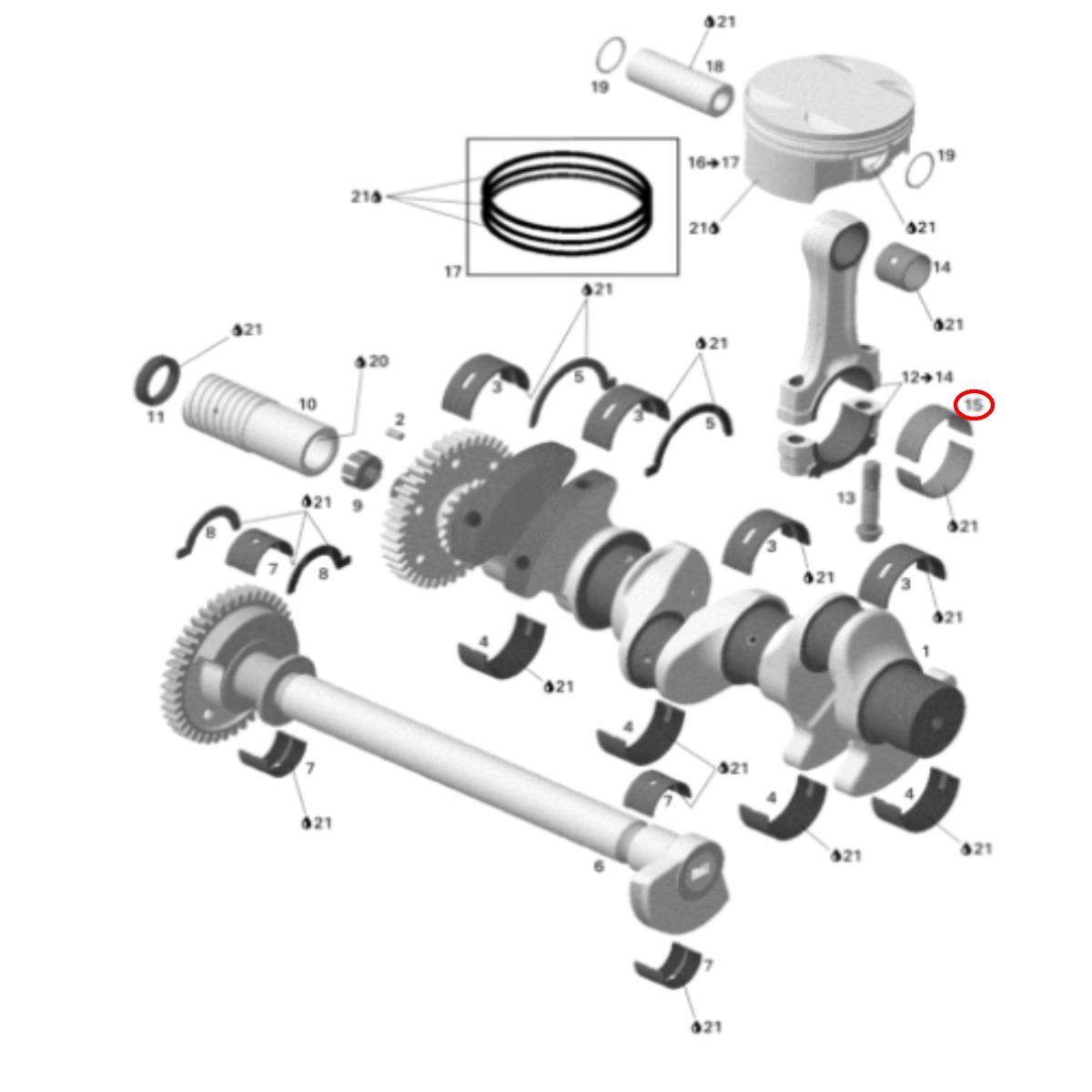 Bronzina Biela para Jet Ski Sea Doo 4 TEC (Unidade)  - Radical Peças - Peças para Jet Ski