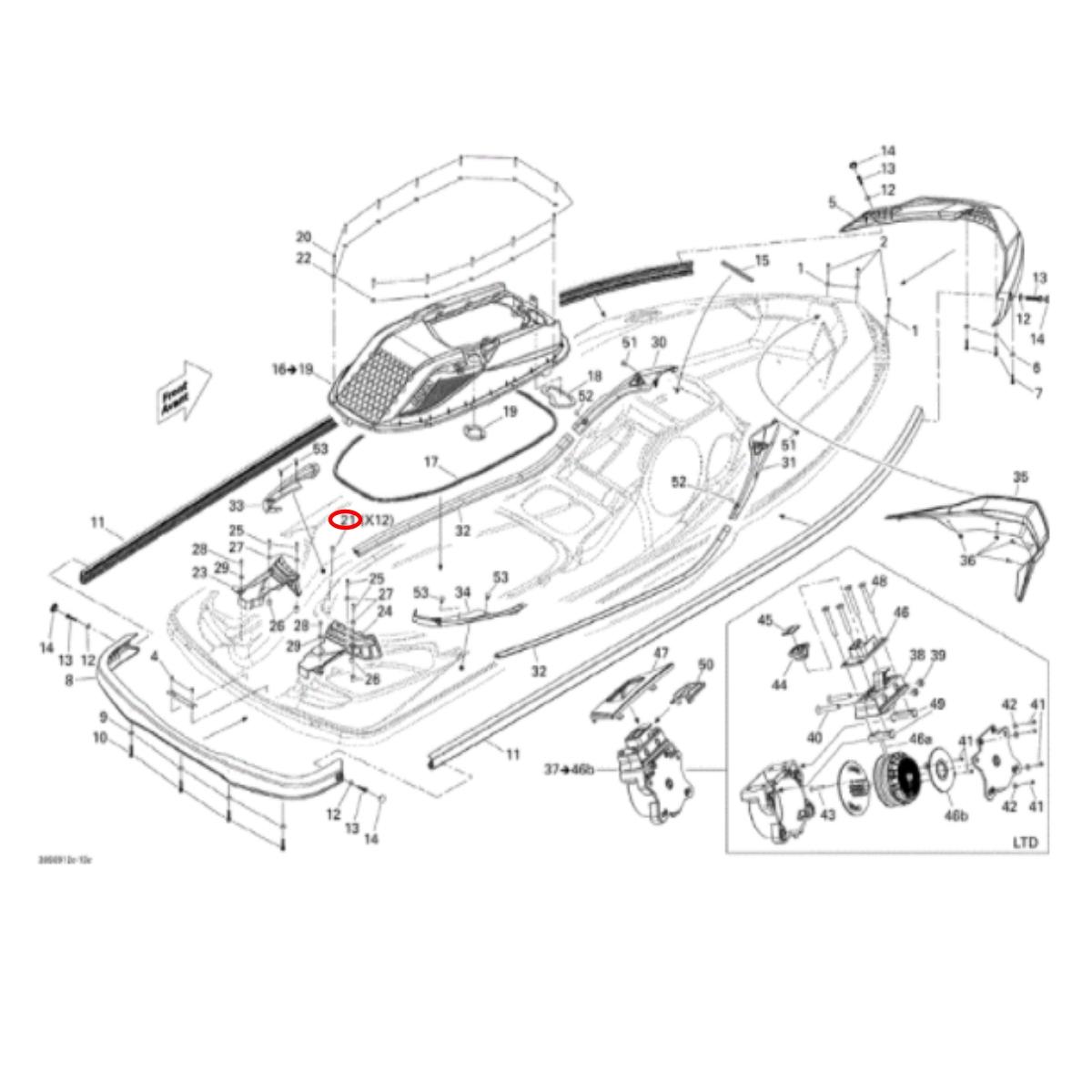 Bucha do Casco Gtx Is 2010  - Radical Peças - Peças para Jet Ski