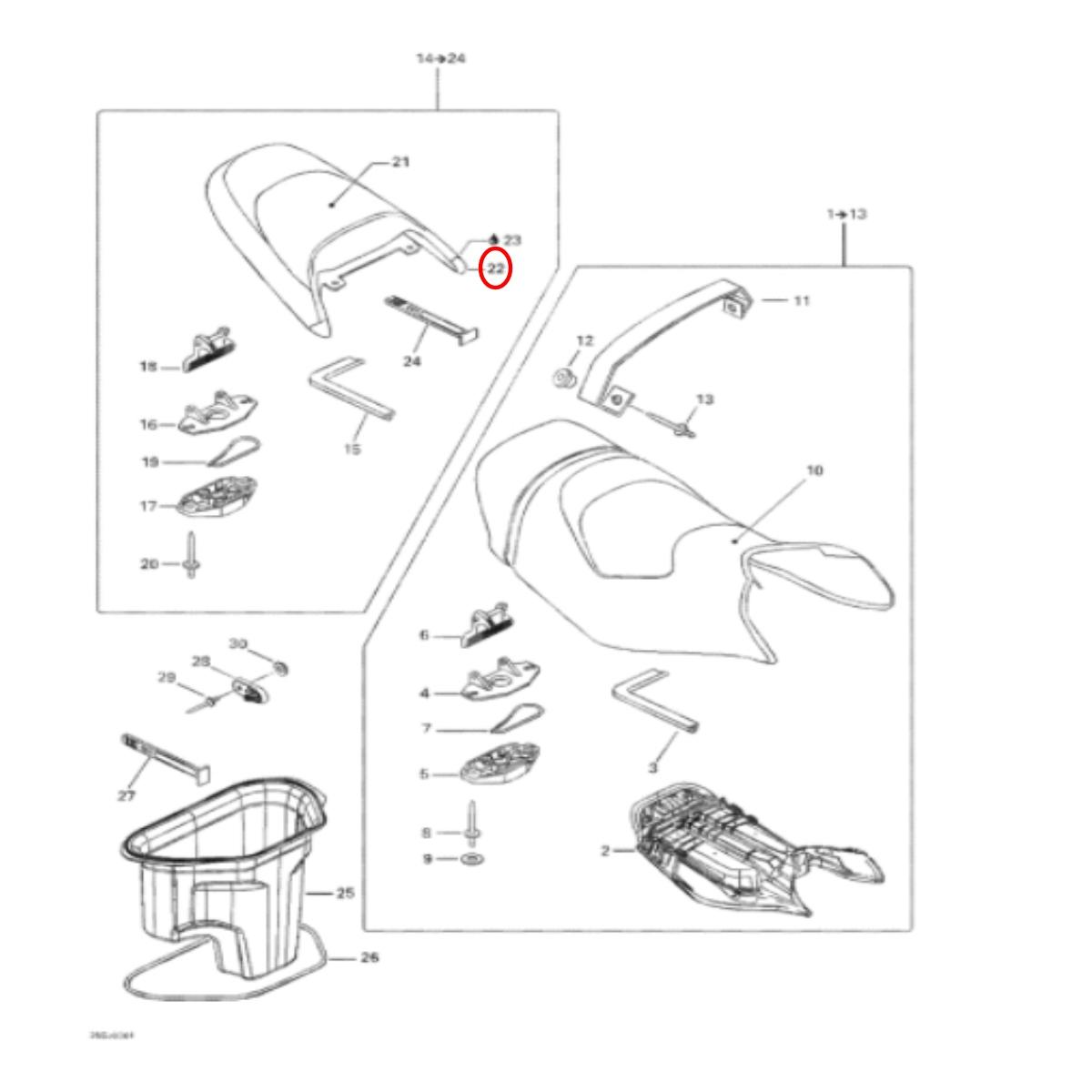Cantoneira Banco Sea Doo GTI 02 Roxa LH  - Radical Peças - Peças para Jet Ski