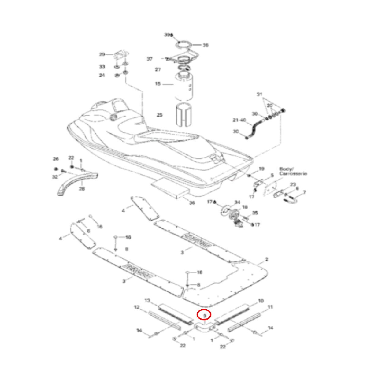 Cantoneira para Jet ski Sea Doo GS/GTI/GTX/RXP/RXT (505)  - Radical Peças - Peças para Jet Ski