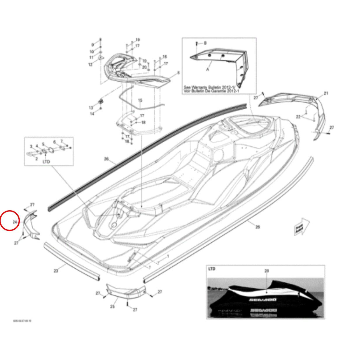 Cantoneira Para Jet Ski Sea Doo GTI,GTS,GTR 11/13 Lado Esquerdo  - Radical Peças - Peças para Jet Ski