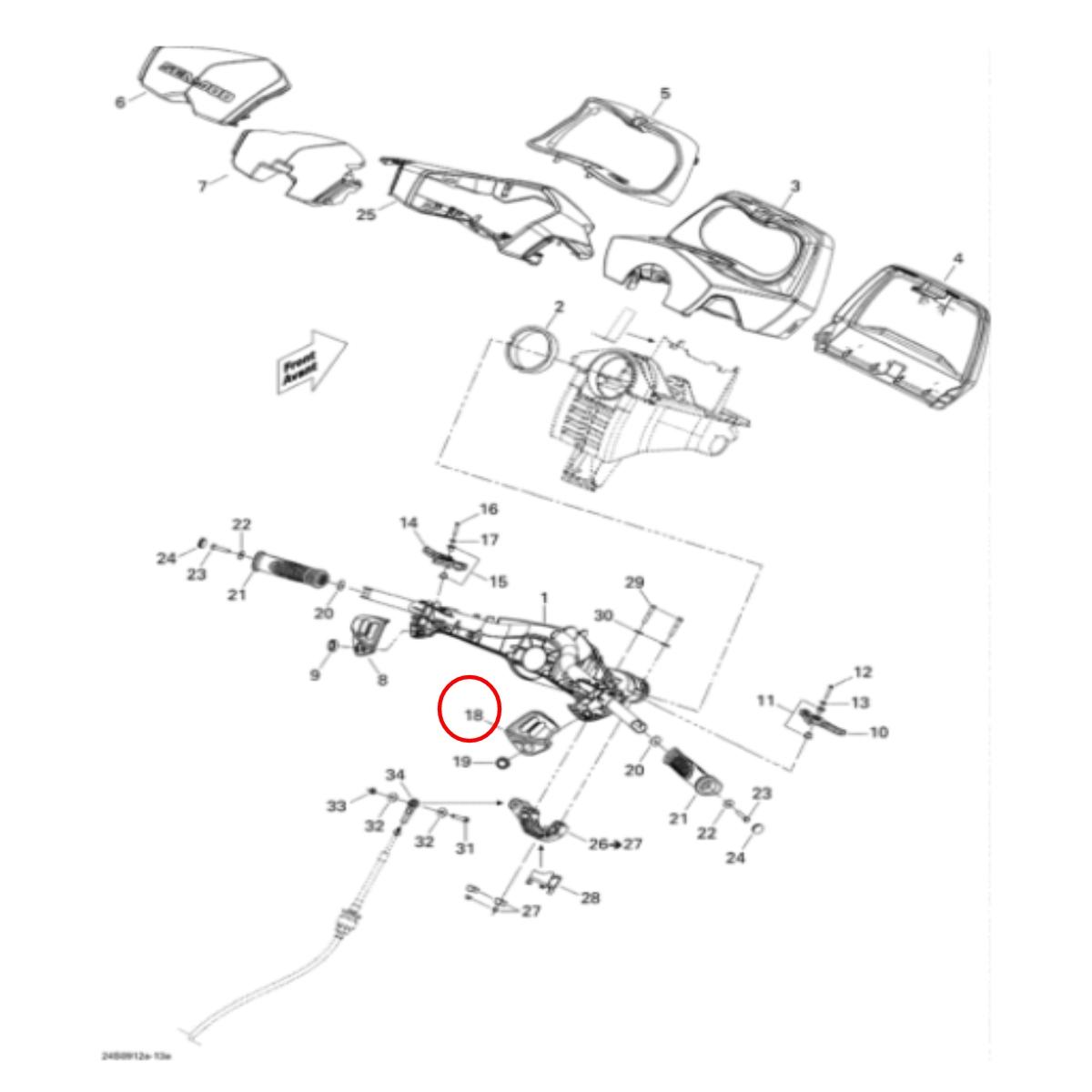 Capa do botão de ignição SEA DOO (DIREITO)  - Radical Peças - Peças para Jet Ski