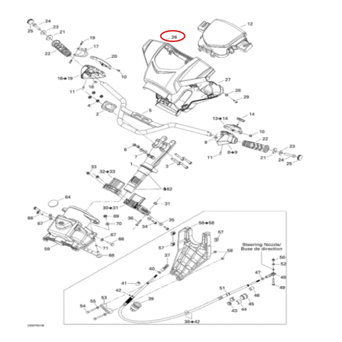 Capa Guidao Superior Sea Doo Gti/Gtx/Rxt 4 Tec  - Radical Peças - Peças para Jet Ski