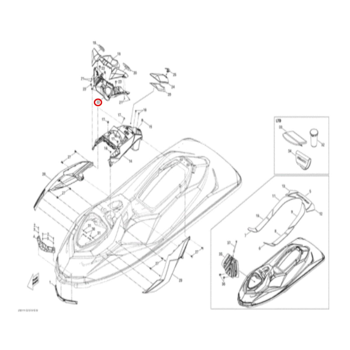 Carenagem do Retrovisor Inferior Sea Doo 4 TEC  - Radical Peças - Peças para Jet Ski