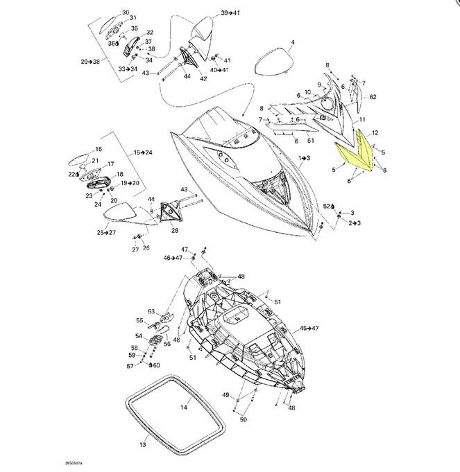 Carenagem Frontal Cromada para Jet Ski Sea Doo RXT*  - Radical Peças - Peças para Jet Ski