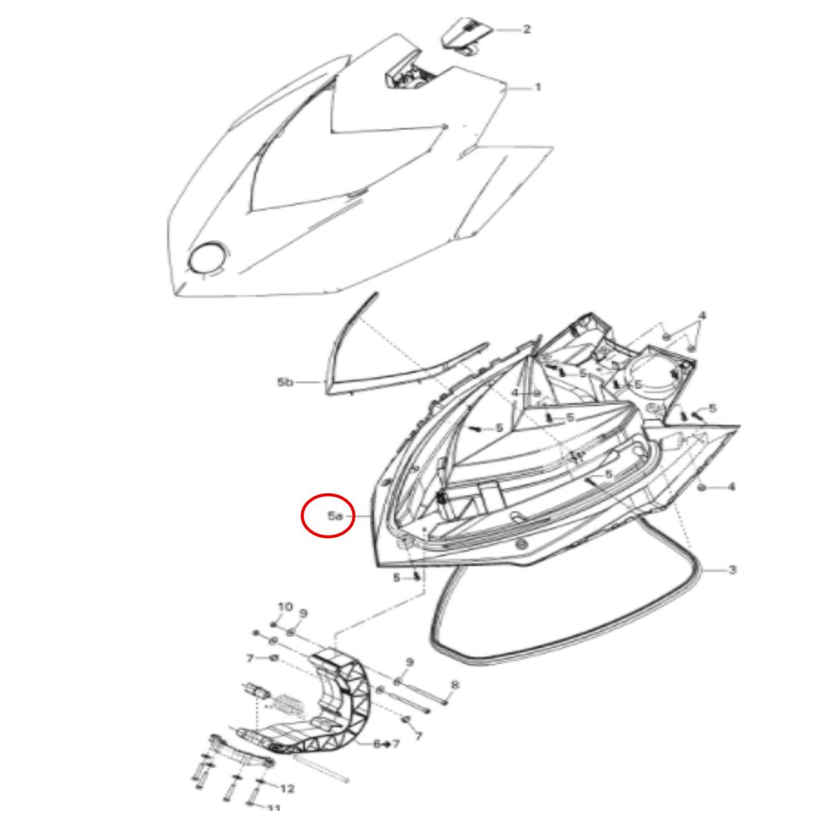 Carenagem Frontal Inferior Sea Doo GTR/GTS/GTI 4 Tec 2011(Transporte a combinar)  - Radical Peças - Peças para Jet Ski