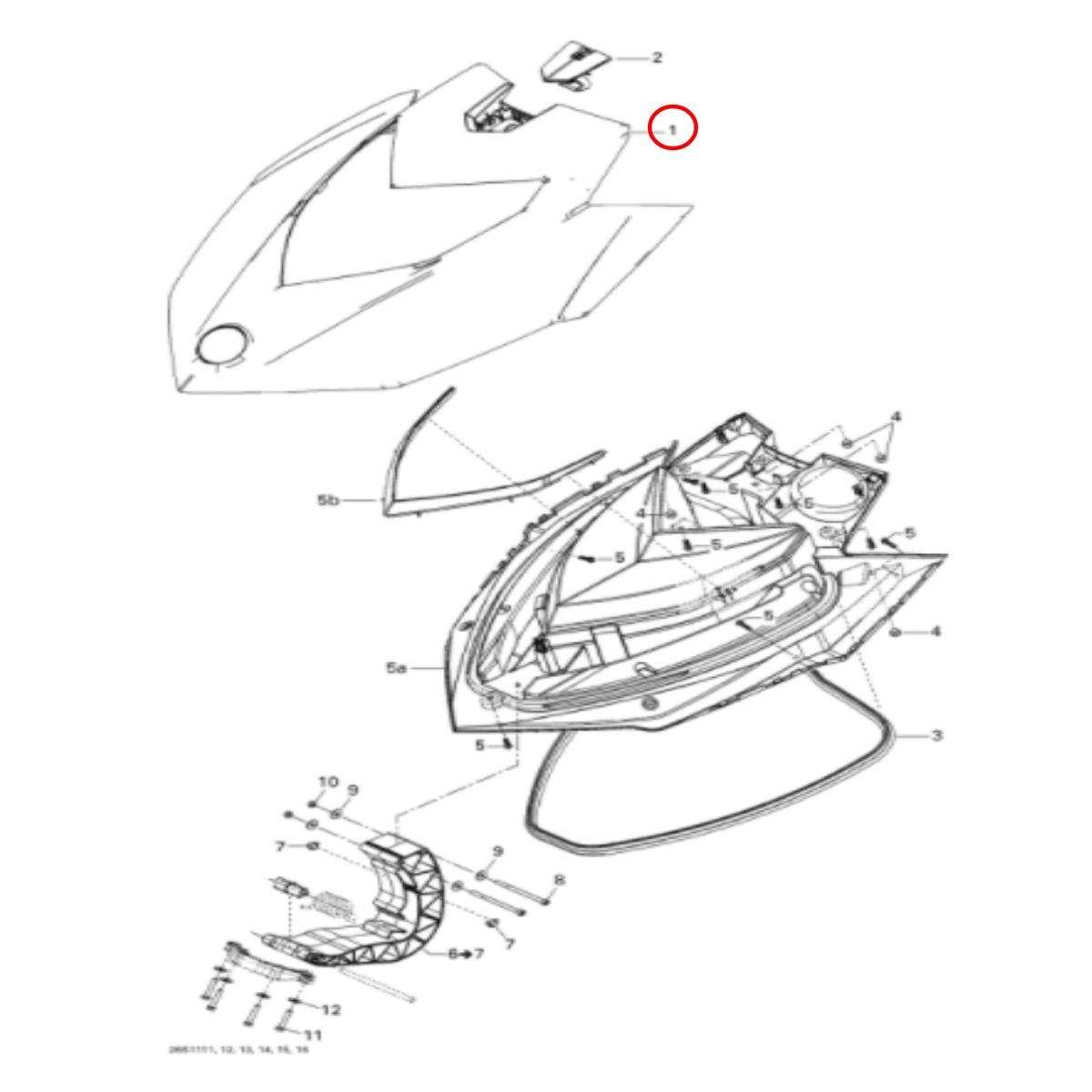 Carenagem Frontal Superior Sea Doo GTI 4 Tec 2011  - Radical Peças - Peças para Jet Ski