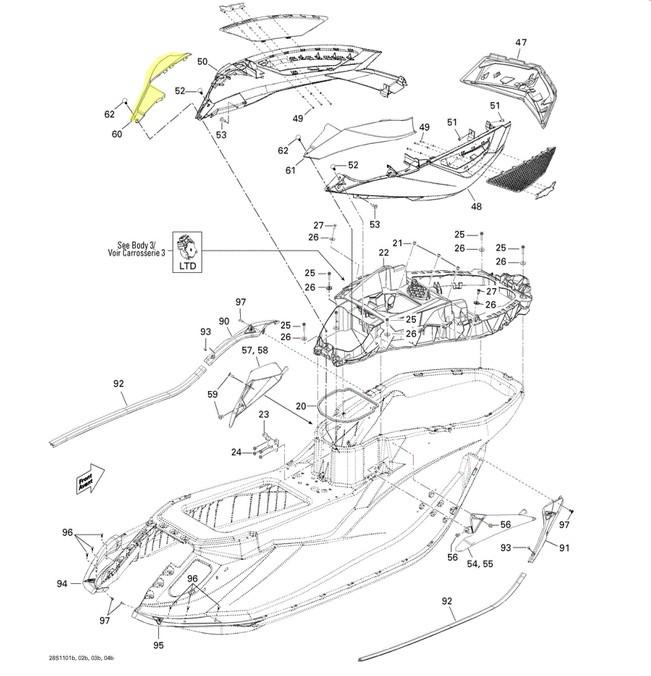 Carenagem Lateral Esquerda para Jet Ski Sea Doo RXT*  - Radical Peças - Peças para Jet Ski