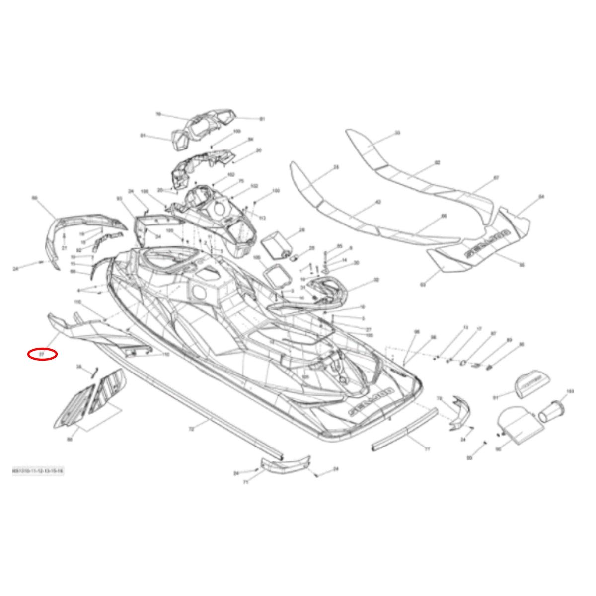 Carenagem Lateral Esquerdo Sea Doo Gti 11/13 Lh Branca (Transporte a combinar)  - Radical Peças - Peças para Jet Ski