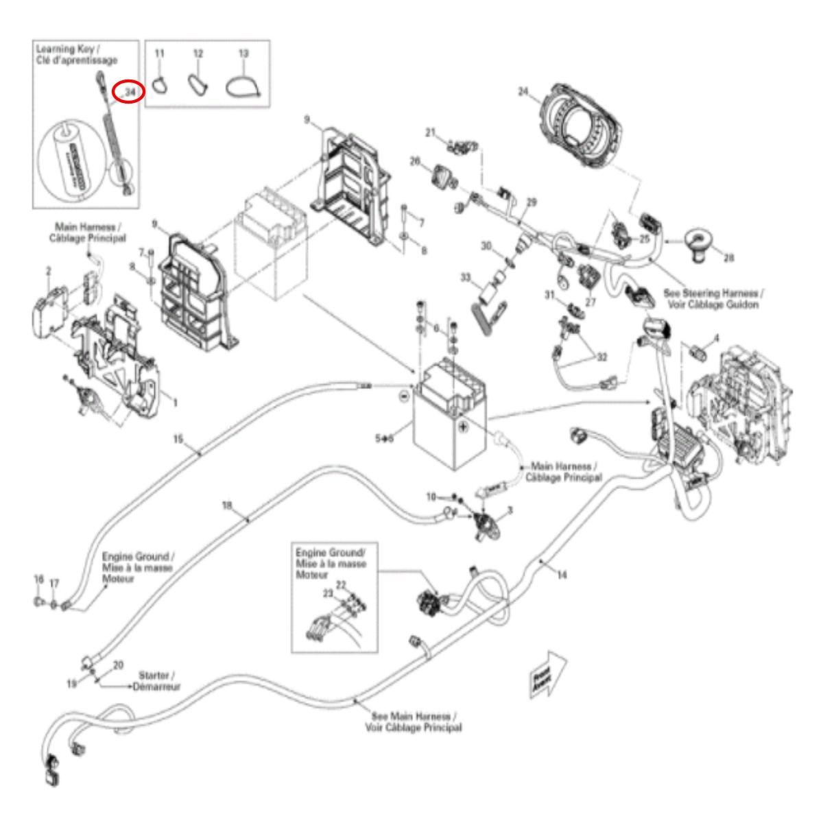 Chave Corta circuito Jet Ski SEADOO Original Codificado  - Radical Peças - Peças para Jet Ski