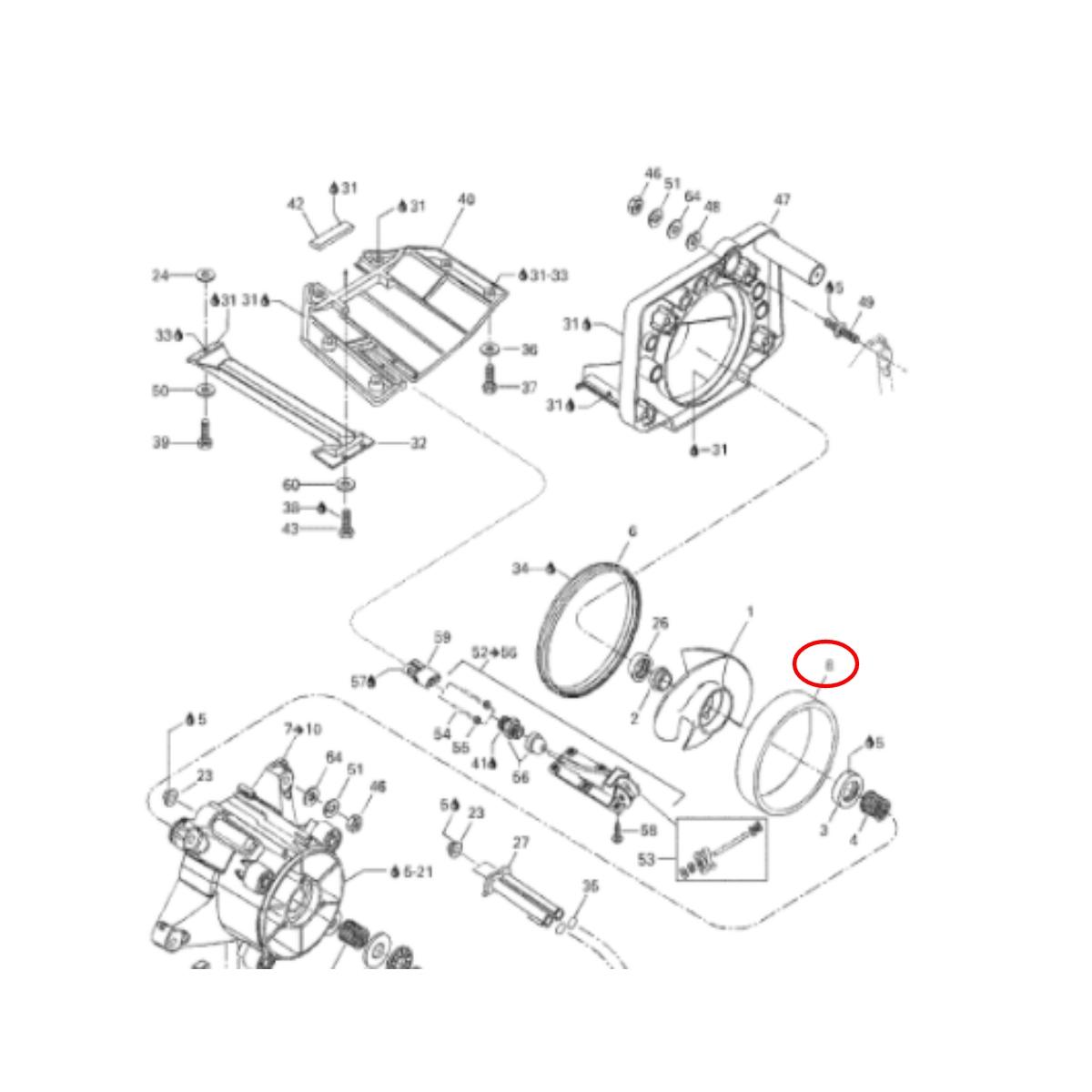 Cinta de Turbina para Jet Ski Sea Doo 580/650/720/800 STD  - Radical Peças - Peças para Jet Ski