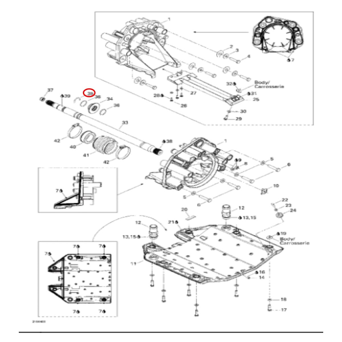 Clip Eixo Transmissão  Jet Sk iSEADOO RXP,RXT 215/255  - Radical Peças - Peças para Jet Ski