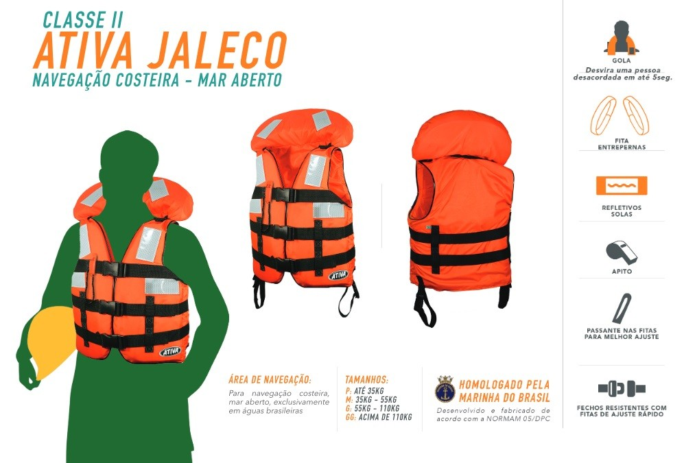 Colete Homologado Ativa 2 Jaleco Classe II +  - Radical Peças - Peças para Jet Ski