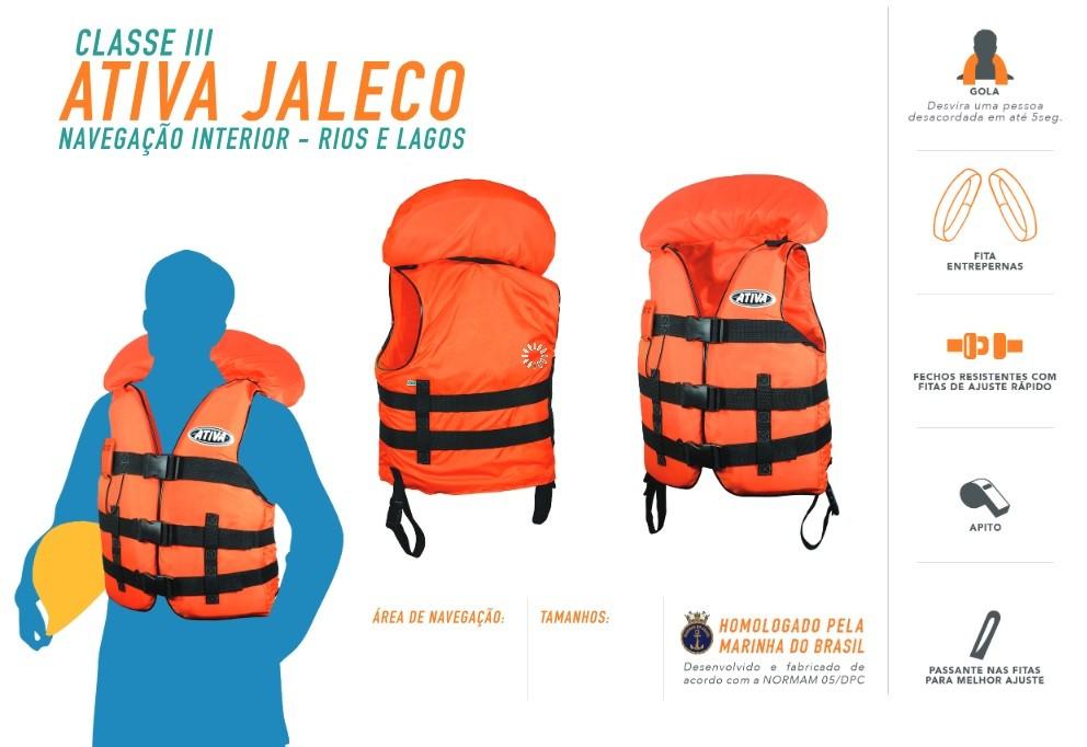 Colete Homologado Ativa 3 Jaleco Classe III +  - Radical Peças - Peças para Jet Ski