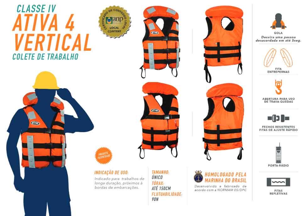Colete Homologado Ativa 4 Vertical Básico Classe IV  - Radical Peças - Peças para Jet Ski