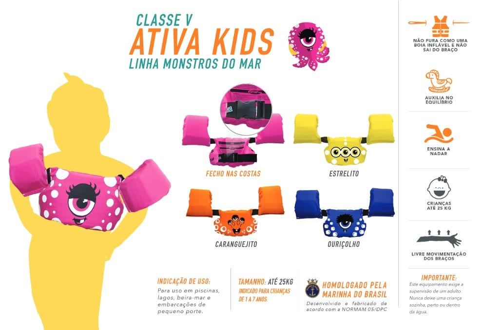 Colete Homologado Infantil Ativa kids Monstros Classe V   - Radical Peças - Peças para Jet Ski
