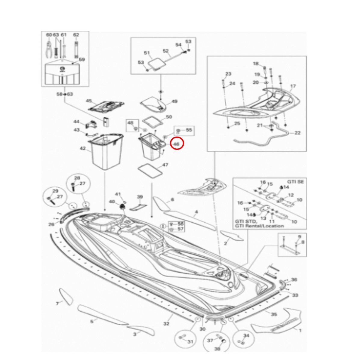 Console Porta Documento GTI  - Radical Peças - Peças para Jet Ski