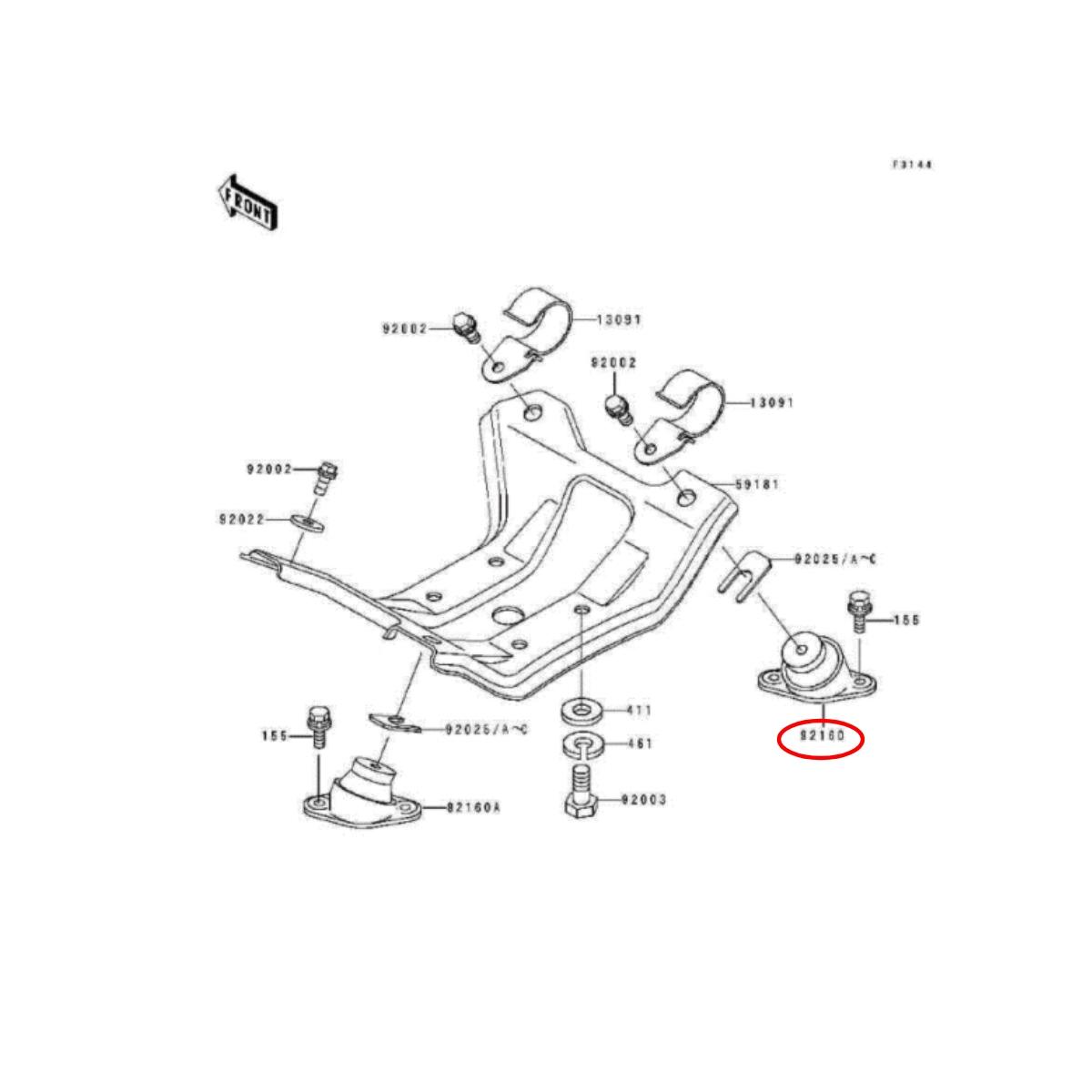 Coxim do Motor para Jet Ski Kawasaki 650cc / 750cc / 800cc  - Radical Peças - Peças para Jet Ski