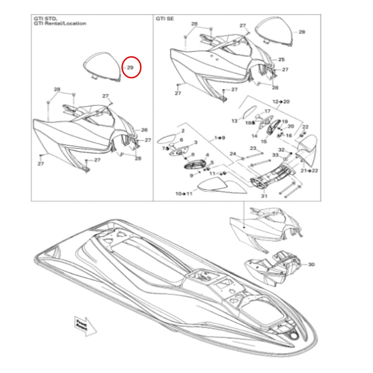 Defletor Jet Ski Sea Doo GTI 4 TEC Laranja  - Radical Peças - Peças para Jet Ski