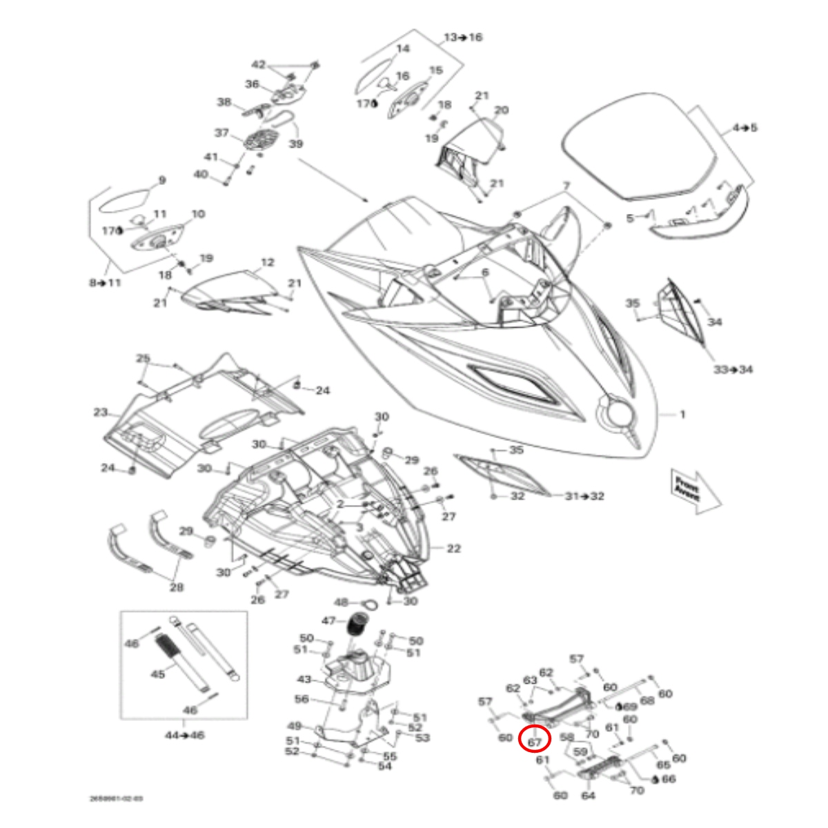 Dobradiça Tampa para Jet Ski Sea Doo GTX/RXT Grande  - Radical Peças - Peças para Jet Ski