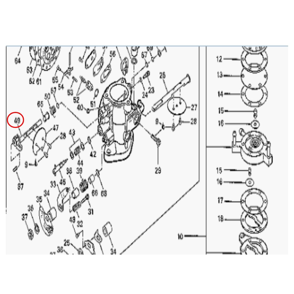 Eixo Afogador Carburador para Jet Ski Sea Doo GT 90  - Radical Peças - Peças para Jet Ski