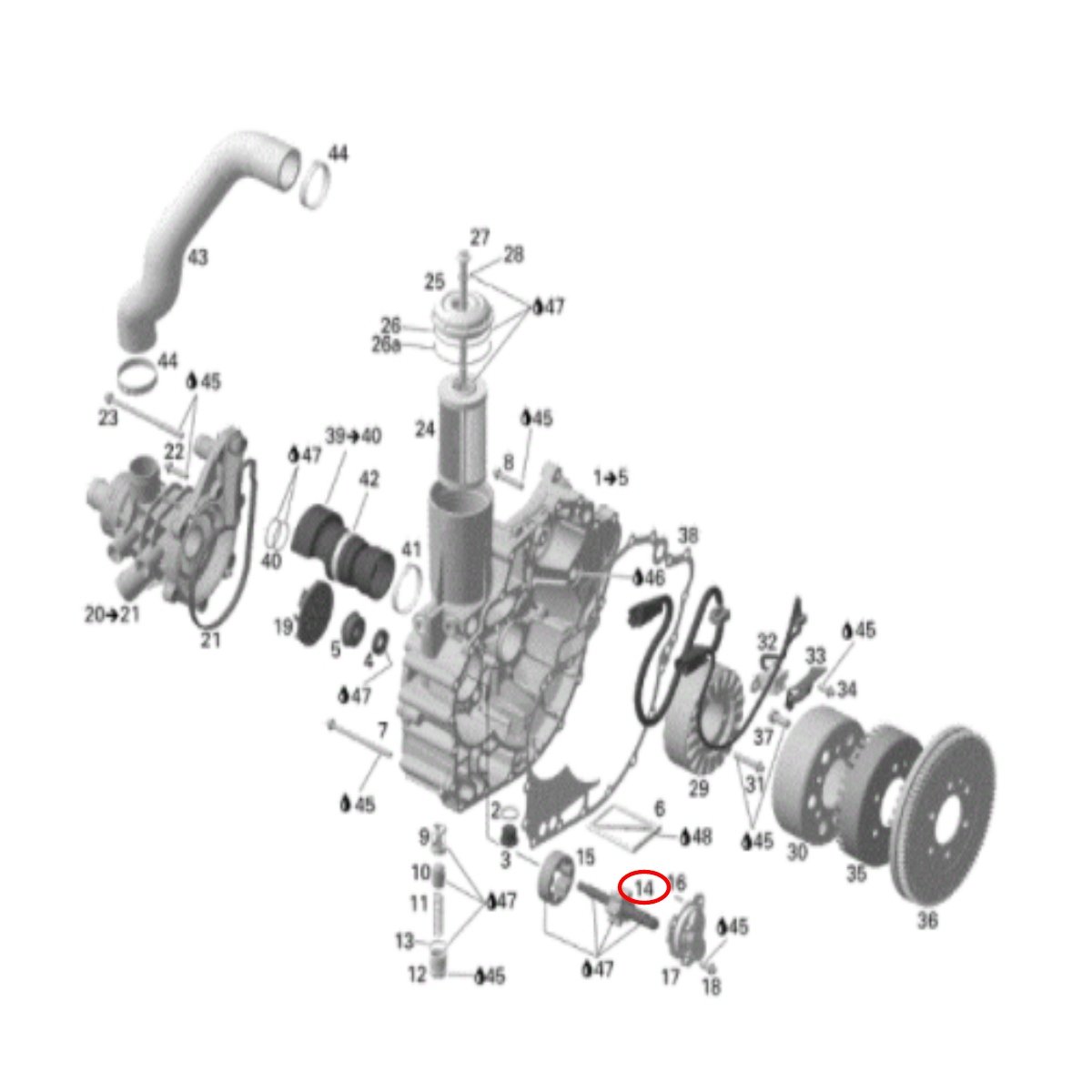 Eixo Bomba Óleo para Jet Ski Sea Doo RXP/GTI/GTX IS LD MAG  - Radical Peças - Peças para Jet Ski