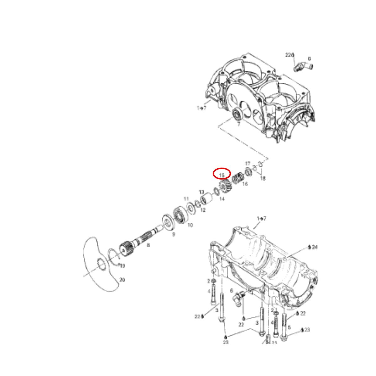 Engrenagem Interna do Virabrequim para Jet Ski Sea Doo 580  - Radical Peças - Peças para Jet Ski