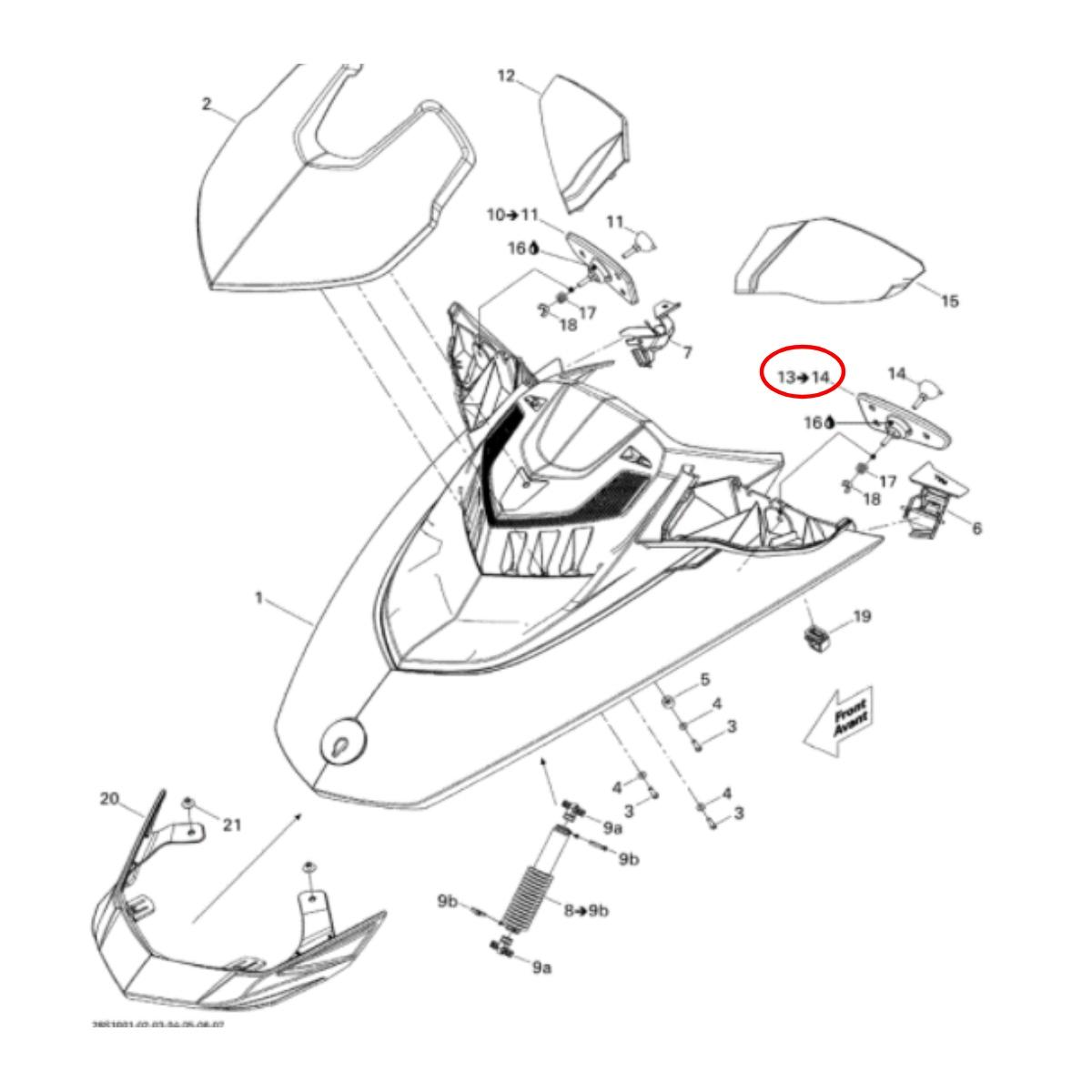 Espelho Retrovisor para Jet ski Sea Doo LH (lado esquerdo)  - Radical Peças - Peças para Jet Ski