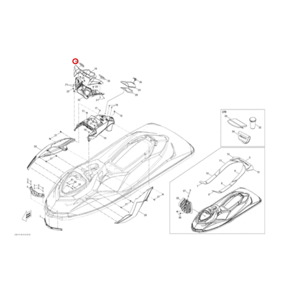 Espelho Retrovisor Sea Doo 4 TEC 2011 RH  - Radical Peças - Peças para Jet Ski