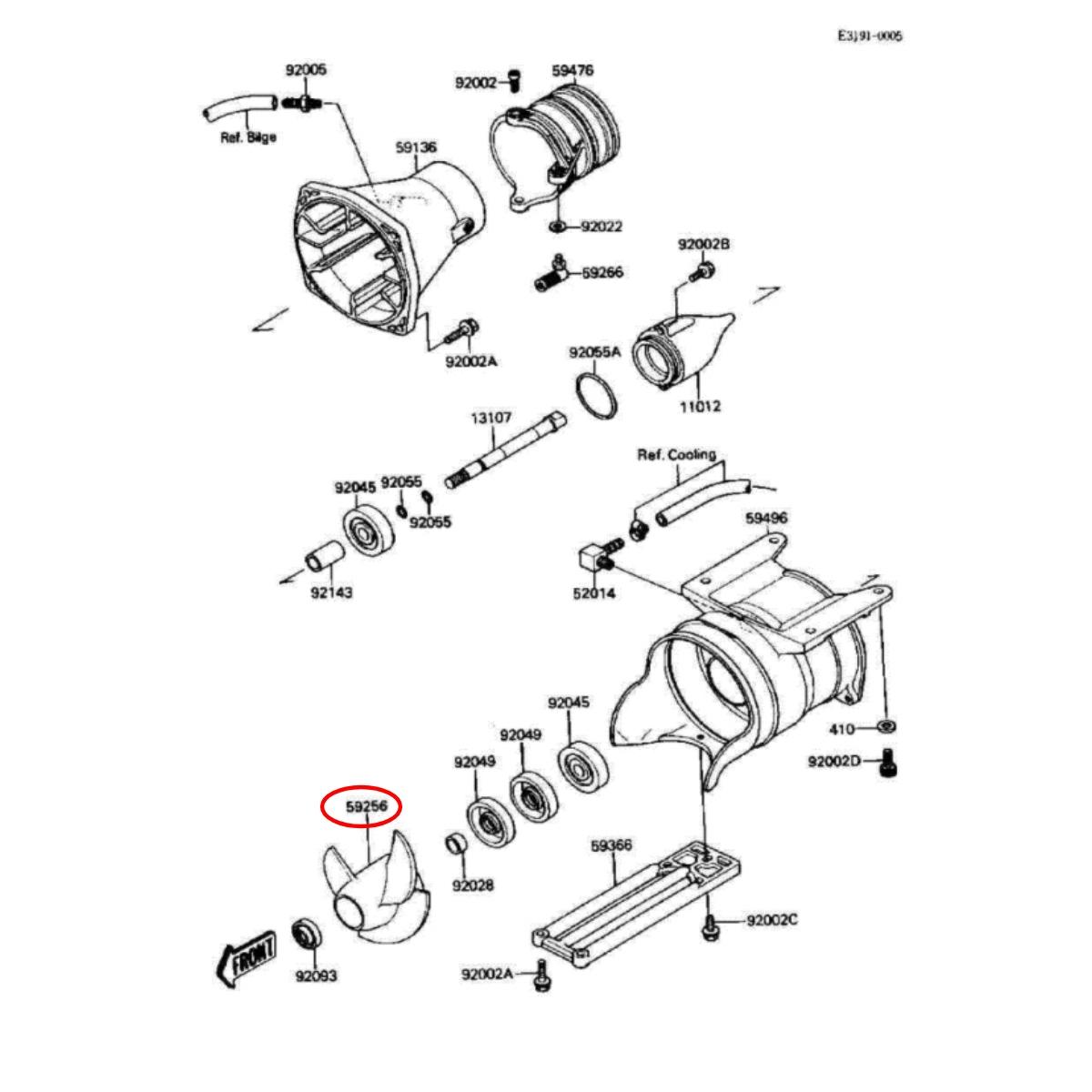 Helice Solas para Jet Ski Kawasaki st/xi/sx 750cc 14/19  - Radical Peças - Peças para Jet Ski