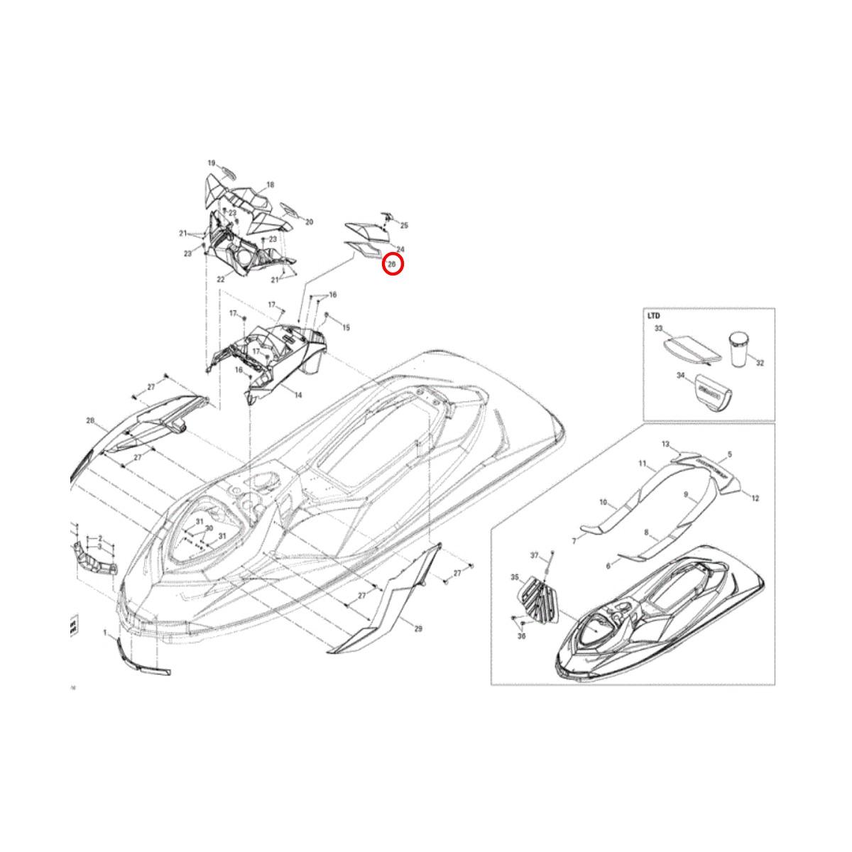 Junta de Vedação da Tampa do Porta Documento para Jet Ski Sea Doo GTI 2011-2016  - Radical Peças - Peças para Jet Ski