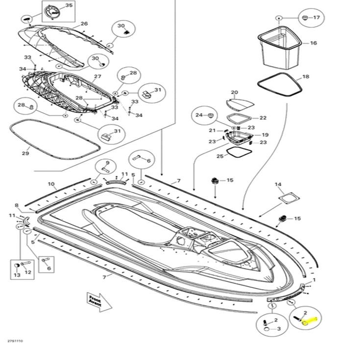 Plug do Parachoque para Jet Ski Sea Doo Preto *  - Radical Peças - Peças para Jet Ski