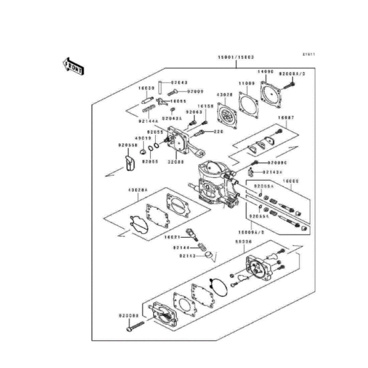 Reparo Carburador para Jet Ski Kawasaki 38/40/42 Keihin  - Radical Peças - Peças para Jet Ski
