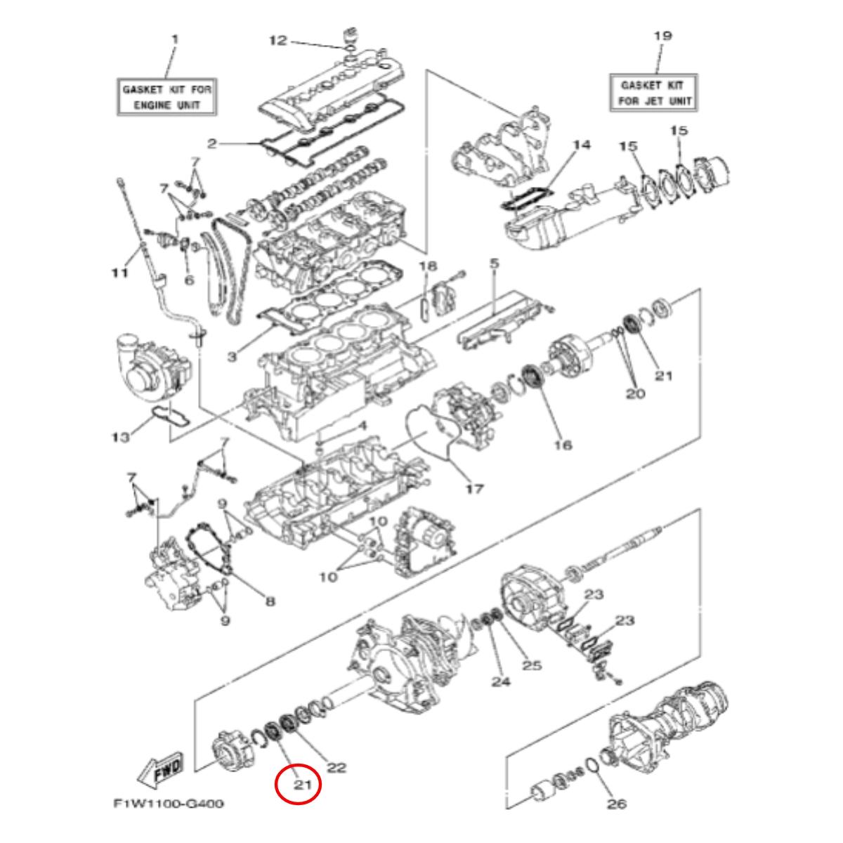 Retentor Casa Rolamento Jet Ski Yamaha SHO  - Radical Peças - Peças para Jet Ski