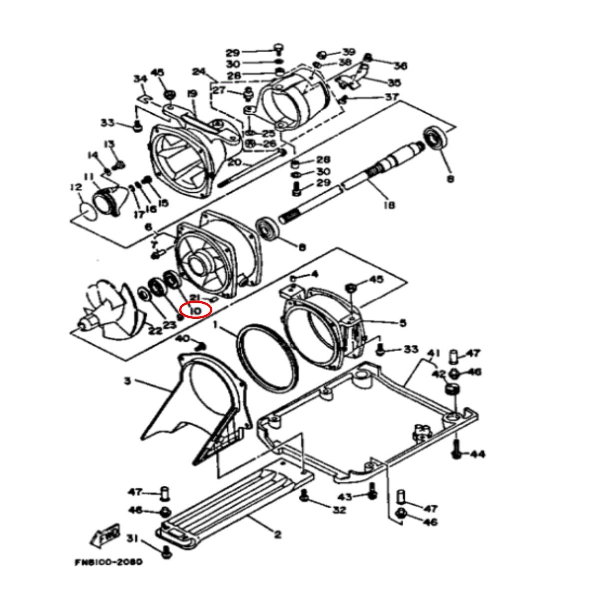 Retentor Turbina Frente para Jet Ski Yamaha XLT  - Radical Peças - Peças para Jet Ski