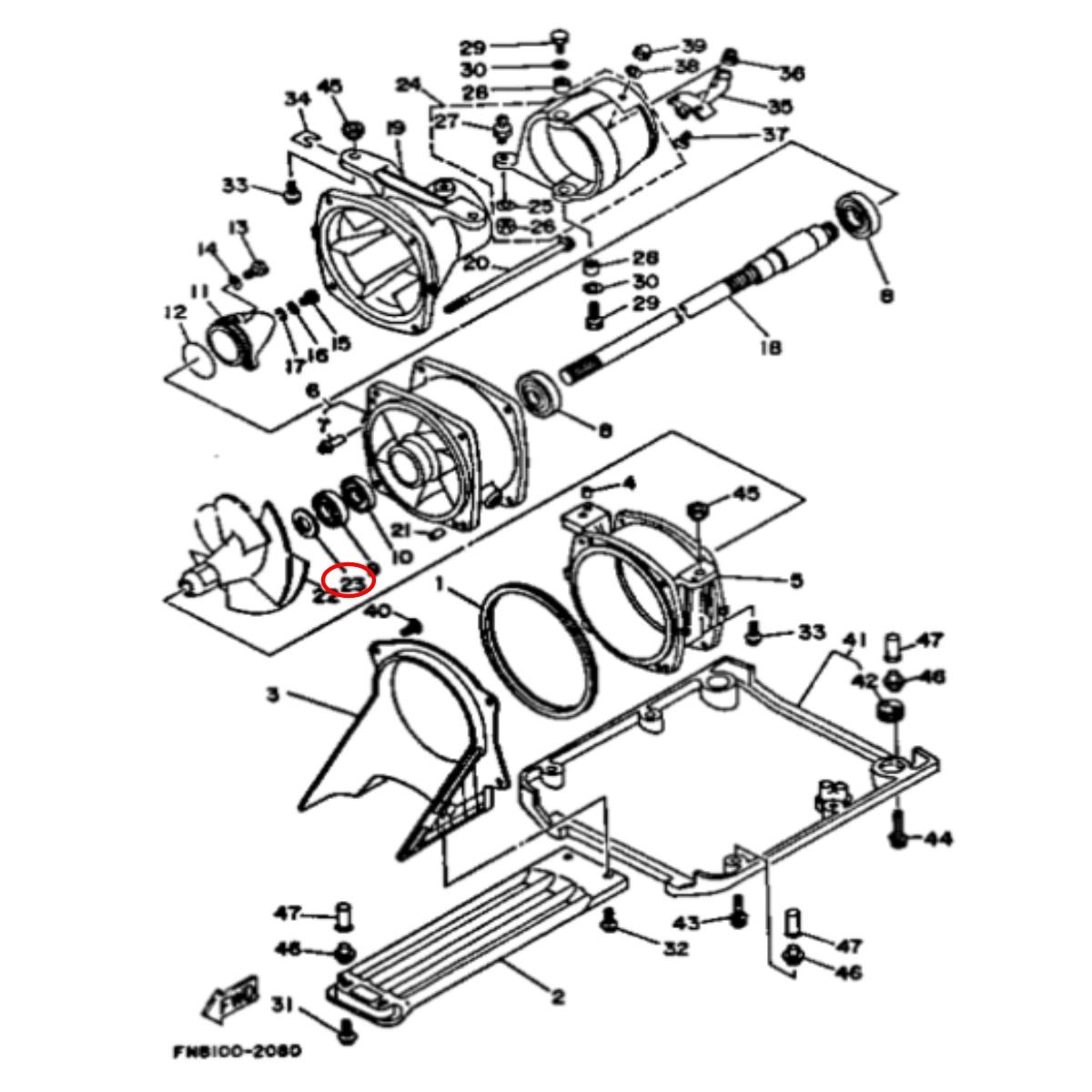 Retentor Turbina para Jet Ski Yamaha Nacional Traseiro  - Radical Peças - Peças para Jet Ski