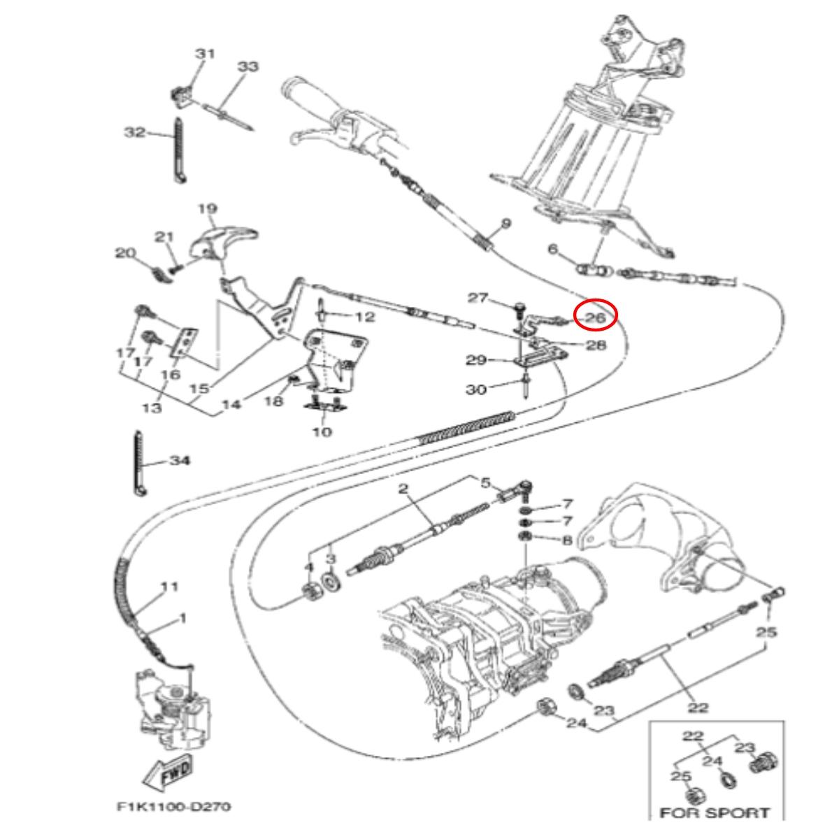 Suporte Cabo Reverso para Jet Ski Yamaha VX  - Radical Peças - Peças para Jet Ski
