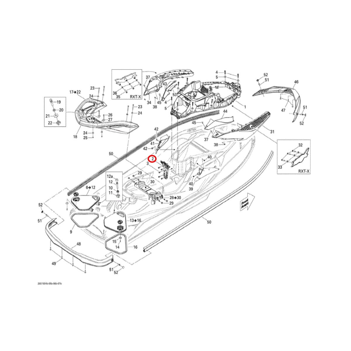 Suporte de Absorção de Casco Jet Ski SEADOO  - Radical Peças - Peças para Jet Ski