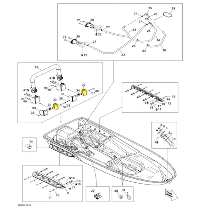 Suporte Escada para Jet Ski Sea Doo 4 tempos (A) LH Lado Esquerdo 292001509  - Radical Peças - Peças para Jet Ski