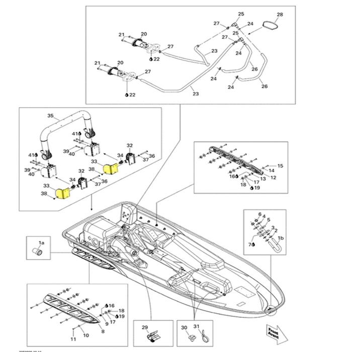 Suporte Escada para Jet Ski Sea Doo 4 tempos (B) RH Lado Direito*  - Radical Peças - Peças para Jet Ski