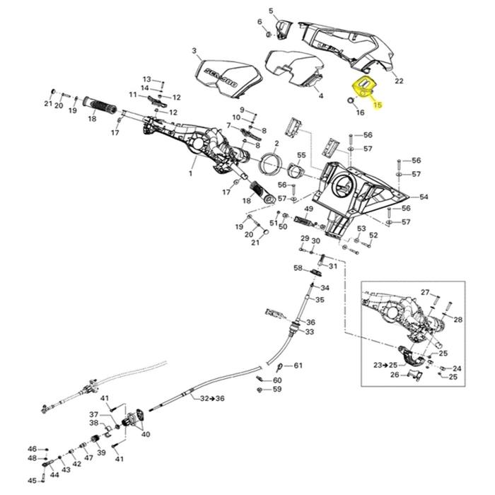 Suporte Guidão para Jet ski Sea Doo RH GTS Lado Direito*  - Radical Peças - Peças para Jet Ski