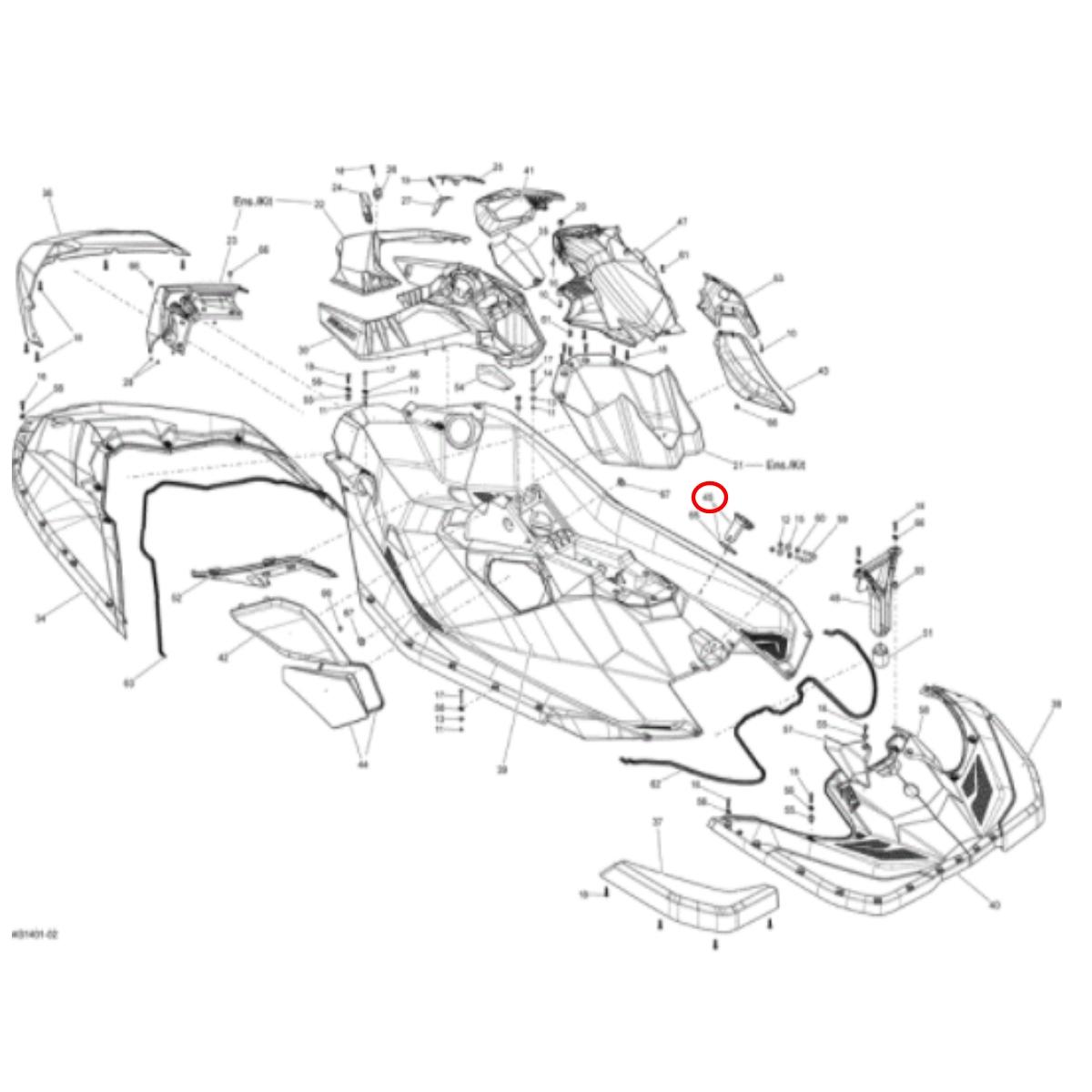 Tampa de Acesso Casco Jet Ski Sea Doo Spark  - Radical Peças - Peças para Jet Ski