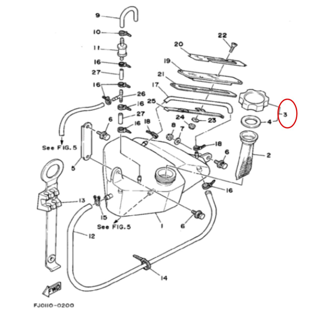 Tampa Tanque de Óleo para Jet Ski Yamaha 2 TEC  - Radical Peças - Peças para Jet Ski