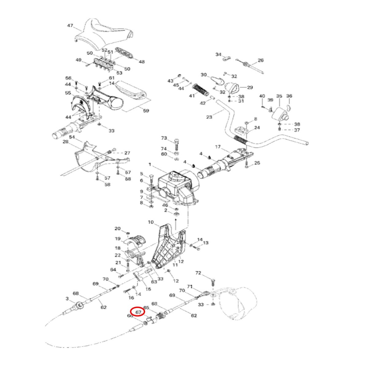 Trava Cabo de Direção Sea Doo GSX/GTX/HX/GS/GTI/GTS/XP/GS  - Radical Peças - Peças para Jet Ski