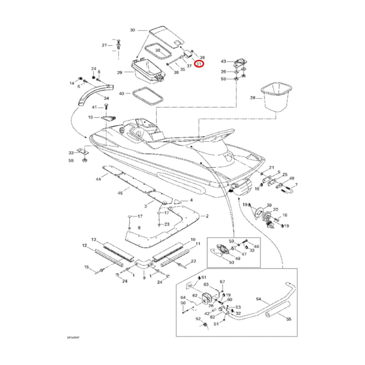 Trava da Tampa do Porta Documentos para Jet Ski Sea Doo 4 TEC  - Radical Peças - Peças para Jet Ski