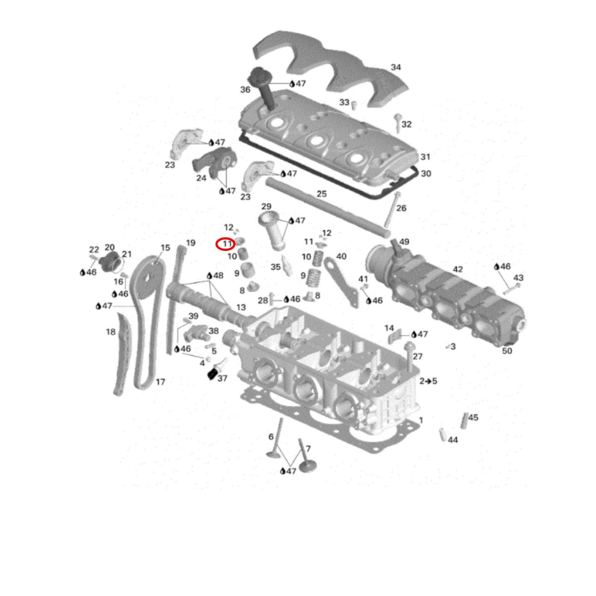 Trava Mola da Válvula Sea Doo 4 TEC  - Radical Peças - Peças para Jet Ski