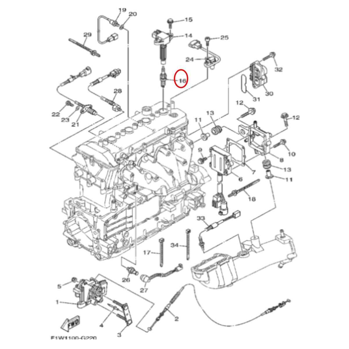 Vela LFR6A-11 para Jet Ski Yamaha SHO/VXR/FZR/FZS 1.8 NGK (Unitária)  - Radical Peças - Peças para Jet Ski