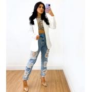 Calça Jeans Destroyed Com Cinto
