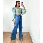 Calça Jeans Pantalona Mom